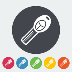 Ignition key single icon. Vector illustration.