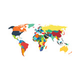 Political map of world with countries. Vector illustration.