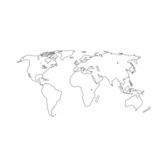 Contour map of the world. Vector illustration.
