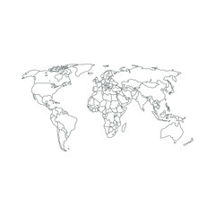 Contour Political map of world. Vector illustration.