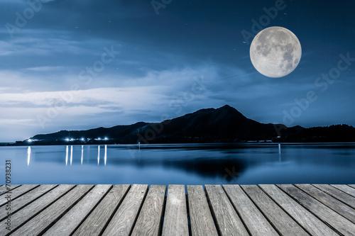 Trail and Lake at night - 70938231
