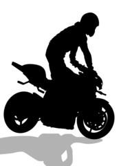 Biker in helmet