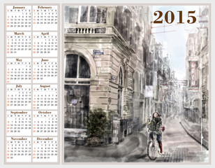 Calendar 2015 with illustration of city street.  Watercolor styl