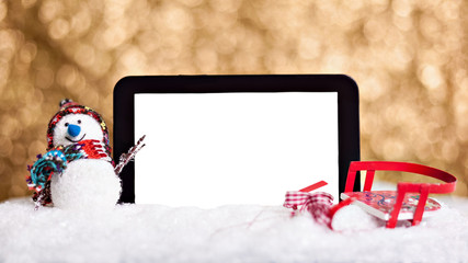 Snowman with digital tablet