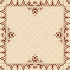 beige background with victorian ornament - vector
