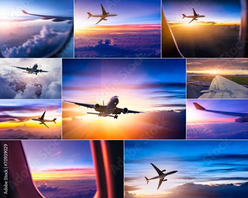 Leinwandbild Motiv airplane theme collage