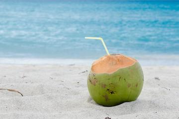coconut cocktail, seashore