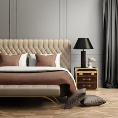 Contemporary elegant luxury pale brown and grey bedroom
