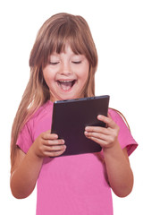The child with the tablet computer