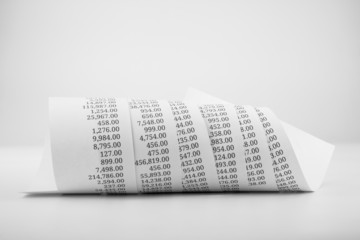 black and white printed paper roll