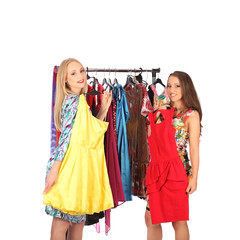 Friends give advice to each other concerning the clothes