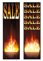 Fire sales banners, vector