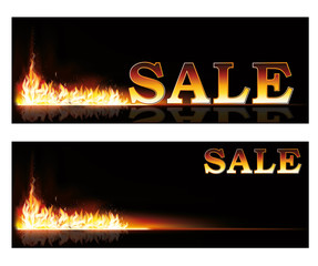 Shopping Sale fire banners, vector illustration