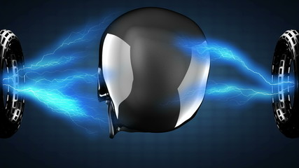 loop metal background with electric lightning
