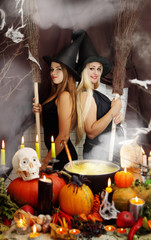 Two witches with a broom, tinted