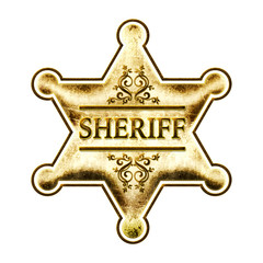 Sheriff Badge, Star, Gold