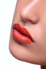 Red Sexy Lips and Nails closeup