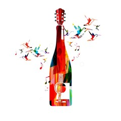 Colorful guitar and bottle design