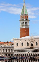 Campanile of St. Mark and the Doge's Palace in Venice in Italy
