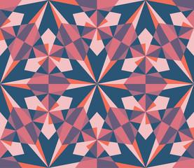Seamless geometric red pink kaleidoscope  pattern background