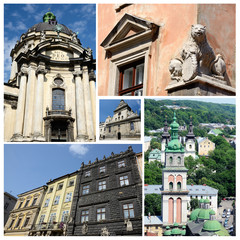 Collage of famous Lvov landmarks (Ukraine),old city center