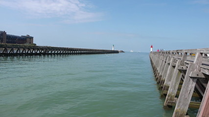 Pier and lighthouses in Trouville, France