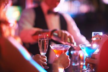 Martini and champagne