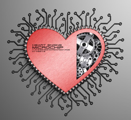 CPU. Gears inside heart processor. 3d