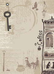 background for cafe with splashes, old town and the text