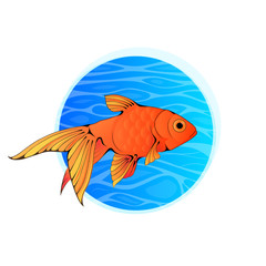 Little Goldfish in Blue Water