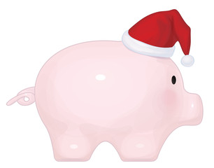 Vector piggybank with Santa claus's hat, isolated.