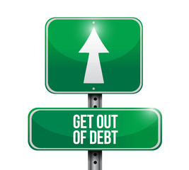 get out of debt street sign illustration design