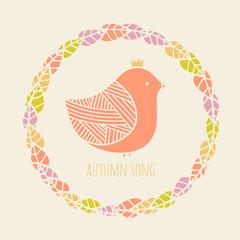 Autumn bird and the wreath. Cute illustration