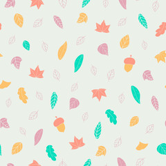 Autumn foliage  seamless pattern. Cute background
