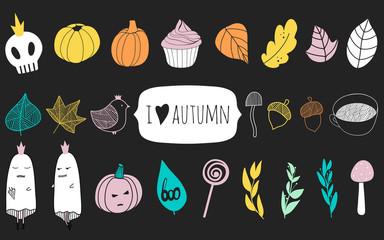 Big set with autumn vector elements.Cut seasonal design