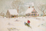Fototapety Winter scene of a farm with people, digitally altered