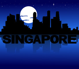 Singapore skyline reflected text and moon illustration