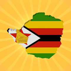 Zimbabwe map flag on sunburst illustration