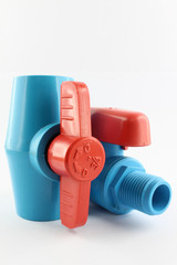 PVC ball valve on white background.
