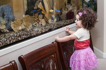 Girl watching fish in aquarium