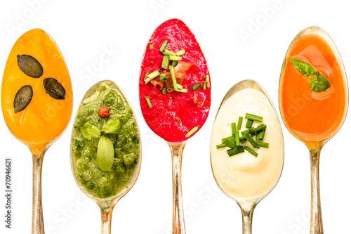 Spoed canvasdoek 2cm dik Groenten Verschiedene Suppen auf Löffel