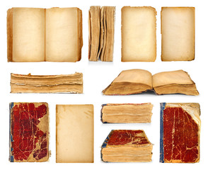 collection of vintage books and old pages on isolated white