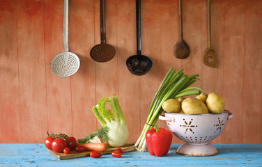 various vegetables and retro kitchen utensils , free copy space