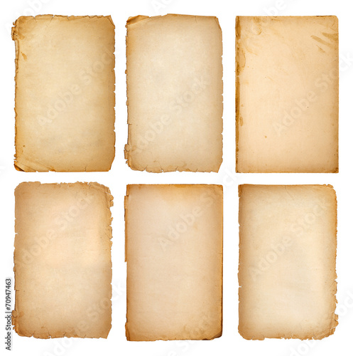 collection of old vintage pages on white background - 70947463