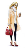 fashion illustration of a blond girl in a coat - 70947883