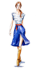 fashion illustration of a girl walking. Summer look