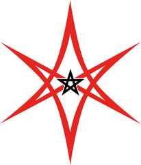 Unicursal Hexagram with Pentagram - Golden Dawn