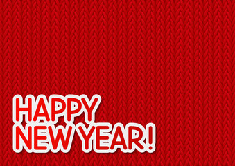 New Year message on knitted background