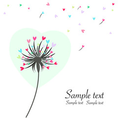 Dandelion with colorful hearts greeting card