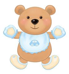 Vector cute baby bear boy isolated.